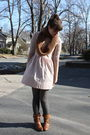 Pink-topshop-dress-gray-h-m-tights-brown-scarf-brown-charlotte-russe-boots