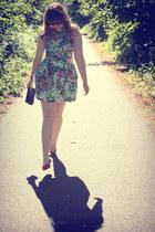 green Zara dress - black wristlet coach purse - red sunglasses - red Primark fla