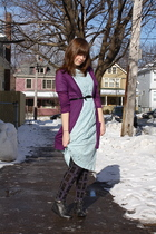 blue vintage dress - purple Lush sweater - black tights - black Forever 21 boots
