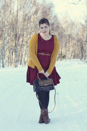 brown American Eagle boots - maroon Suzy Shier dress - black leopard Guess bag