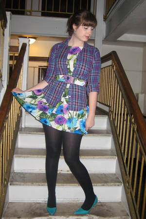 purple Forever 21 dress - blue Bluenotes shirt - black Ardene tights - blue Spri