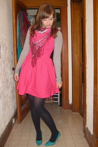 pink Topshop dress - blue Spring shoes - pink H&M scarf - gray shirt
