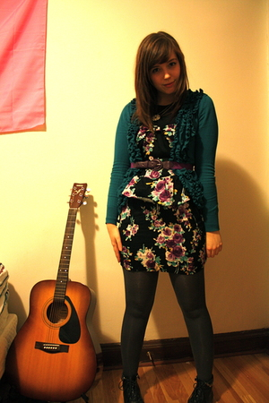 purple dress - blue Costa Blanca sweater - gray H&M tights - black Forever 21 bo