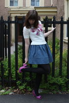 white Ruche cardigan - blue Walmart skirt - black HUE tights - purple seychelles