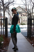 green Walmart skirt - black Jeffrey Campbell shoes - black Forever 21 sweater