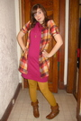 Pink-american-apparel-dress-yellow-forever-21-shirt-gold-modcloth-tights