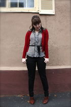 red Forever 21 cardigan - black H&M pants - black Forever 21 shirt - brown seych