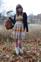 navy American Eagle cardigan - beige Aldo boots - gold patterned Mango dress