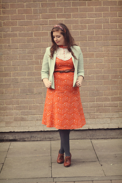 carrot orange vintage dress - aquamarine mint Topshop blazer