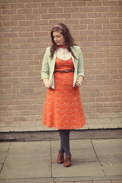 carrot orange vintage dress - aquamarine mint Topshop blazer