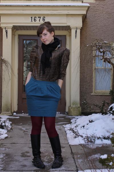 black vintage top - blue Topshop skirt - black Spring boots - black Primark scar