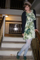 green H&M dress - blue American Eagle sweater - blue We Love Colors tights - gre