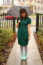 green Express dress - blue tights - blue shellys london boots - black accessorie