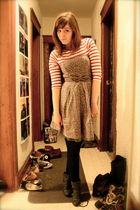 red Zara top - gray American Eagle dress - blue joe fresh style tights - gray bo
