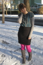 blue dress - black Charlotte Russe skirt - pink We Love Colors tights - gray Cha