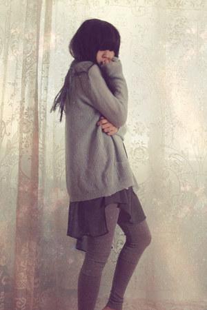 charcoal gray Helmut Lang dress - heather gray hema7 leggings