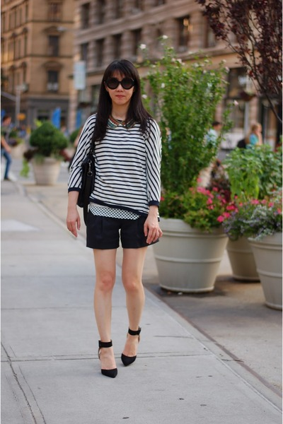 heels Zara shoes - stripes French Connection shorts - stripes Zara top