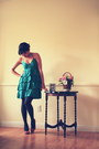 Green-h-m-dress-gray-gap-tights-ruby-red-style-co-pumps