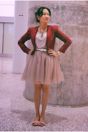 tan tulle H&M dress - ruby red Urban Outfitters blazer - ivory Gap belt