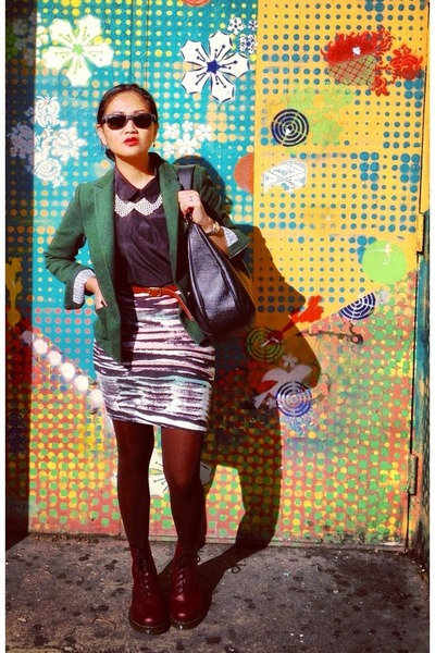 DIY skirt - brick red doc martens boots - dark green Mango blazer