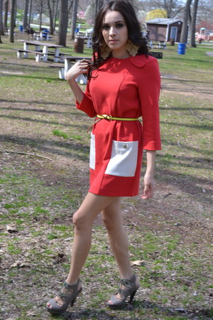 yellow H&M belt - red h&m trend label dress - gold H&M earrings