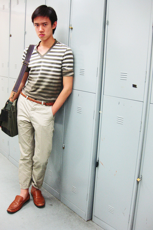 brown loafers Primavera shoes - beige khaki H&amp;M pants
