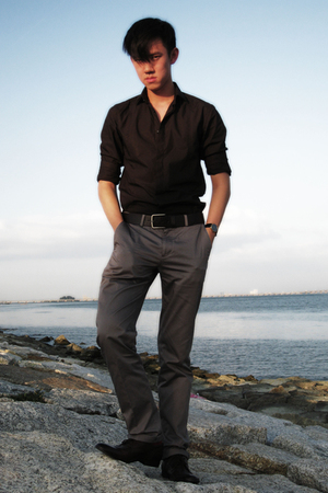 brown Zara shirt - brown belt - beige pants - brown shoes - black Longines acces