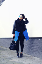 blue Front Row Shop coat - black see by chloé boots - black H&M bag