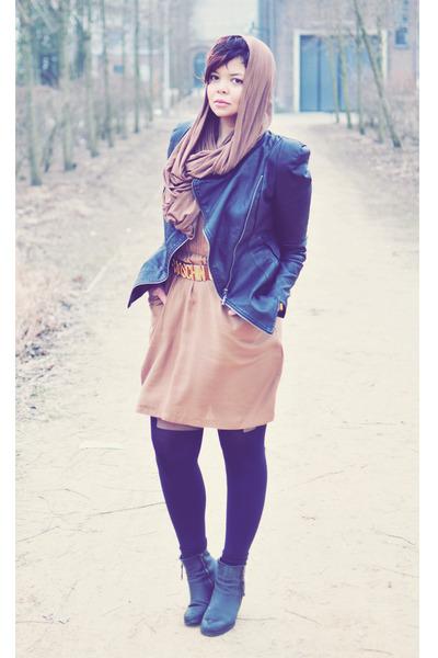 black Sacha boots - brown Zara dress - black Oh my Frock jacket - brown selfmde