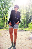 black Zara shirt - black Primark bag - blue H&M shorts - silver PrairieFairyDesi