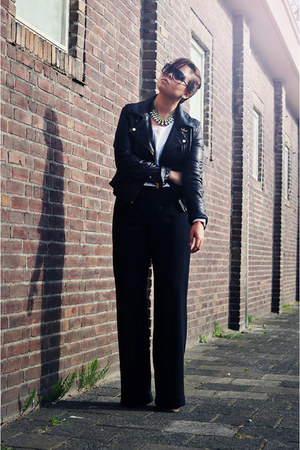 black vintage pants - black asos jacket - black H&M sunglasses