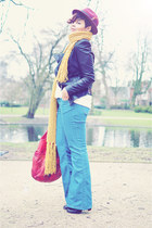 black Newlook boots - blue asos jeans - maroon asos hat - black Oh my Frock jack