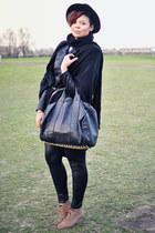 black vintage hat - black Oh my Frock jacket - black unknown bag - light brown a