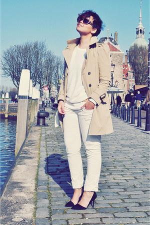 camel Zara coat - white Topshop sweater - eggshell Zara pants - black Zara heels