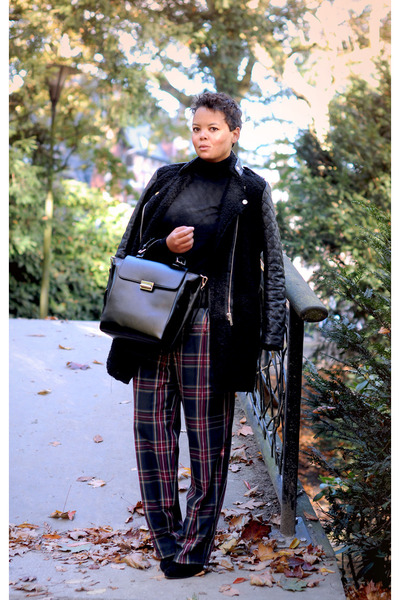 red vintage pants - black Zara coat - black Zara bag - black H&amp;M jumper