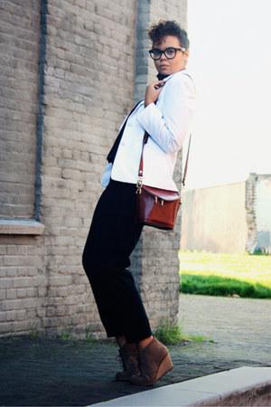black Zara pants - black Zara blouse - white vintage blazer - light brown asos w