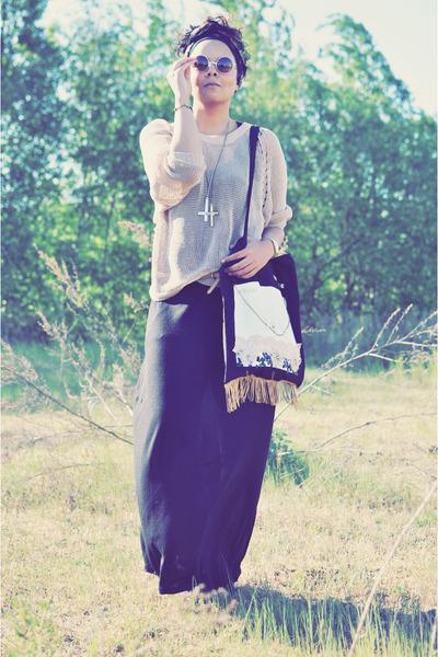 silver gypsy warrior necklace - black H&M dress - black vintage scarf