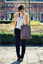 mustard vintage jacket - dark brown Ramon Middelkoop bag - blue H&M necklace - b
