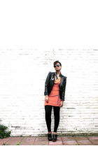 black SuperTrash blazer - orange SuperTrash dress - black Zara leggings - black