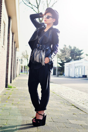 black vintage hat - black Oh my Frock jacket - black Zara bag - black asos t-shi
