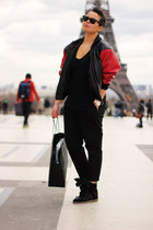 red vintage jacket - black Zara pants - black Zara t-shirt - black Ebay sneakers