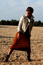 black boots - orange dress - beige jacket - brown sunglasses