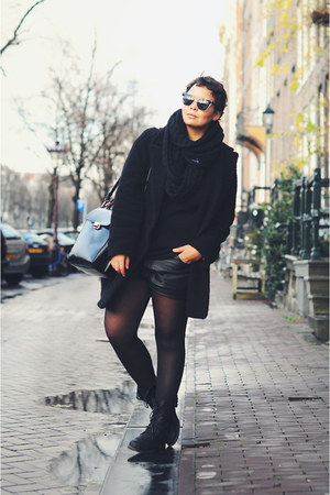 black vintage shorts - black Mango coat - black Zara bag - black asos sunglasses