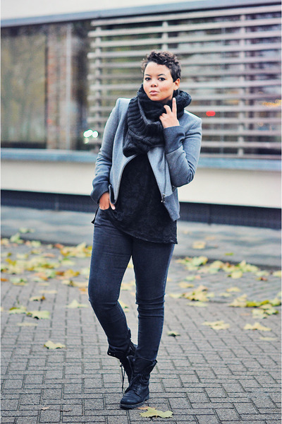 charcoal gray Mexx jeans - black Zara boots - silver Mexx jacket