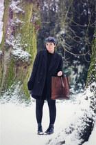 black Newlook skirt - gray vintage coat - black vintage hat