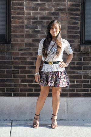crochet vintage top - thrifted bag - H&M skirt - thrifted vintage belt