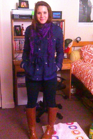 blue martin and osa coat - blue JBrand jeans - brown Lulus boots - purple scarf