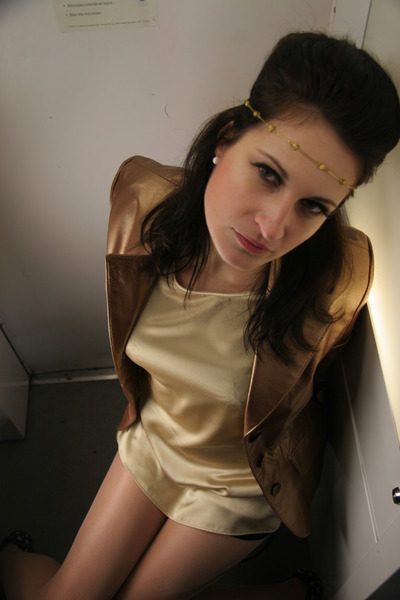Vintage Rescue Leather blazer - vintage silk blouse - Satin Hot pants - vintage
