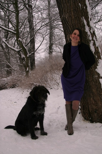 deep purple Uli Richter dress - vintage blazer - 80s Vintage boots - 80s Vintage