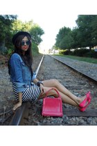 coral Forever 21 bag - white striped H&M dress - black fedora Aldo hat